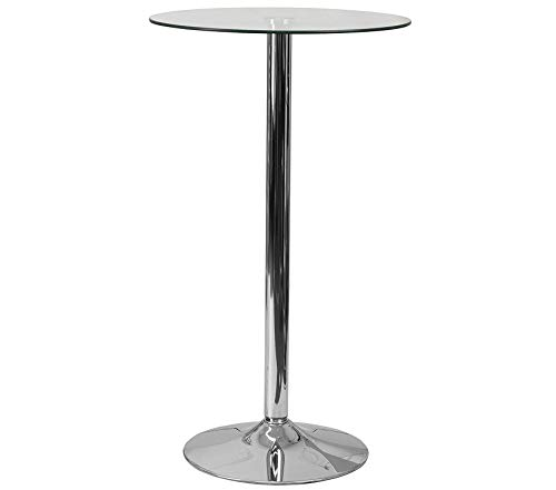 Office Home Furniture Premium 23.75'' Round Glass Table with 41.75''H Chrome Base