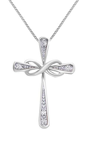 - Jewel Zone US White Natural Diamond Accent Infinity Cross Pendant Necklace 14k White Gold Over Sterling Silver