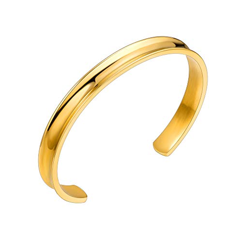 Supcare Hair Tie Open Cuff Bracelet Stainless Steel 18k Gold Plated, Adjustable Gold Metal Bangle Bracelet Cuff to Hold Hair Tie, Fashion Women Jewelry Nice Birthday Gift or Her