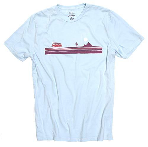 VW Bus Cactus Desert Stripe Road Trip Mens Pale Powder Blue Graphic tee Shirt