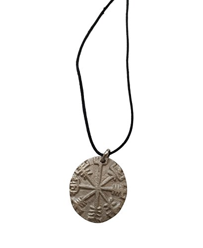 AleHorn Antique Solid Metal Norse Viking Compass Pendants Ancient Amulet Necklace Pendant with Cord Great Gift for Collectors, Friends, Family (Nickel Silver)