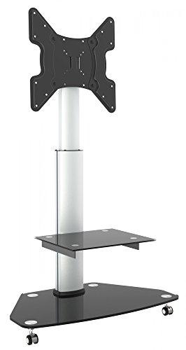 RICOO LCD TV Ständer Standfuss Glas Standfuß Halterung Neigbar FS0200 Schwenkbar Drehbar mit Rollen Höhenverstellbar LED Fernseher Stand Möbel Rack VESA 400x400 Universal inkl. DVD Receiver Glas Regal