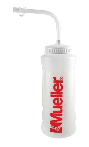 Mueller Quart Bottle w/Straw (New Design), Natural Color w/ Red Letters (Natural Color Straw)