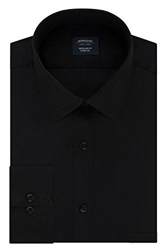 Arrow Men's Dress Shirt Regular Fit Stretch Poplin Solid, deep Black, 16