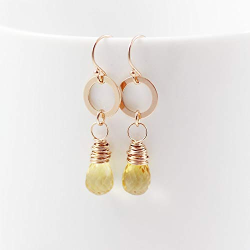Citrine Teardrop Rose Gold Retro Dangle Earrings November Birthstone Jewelry