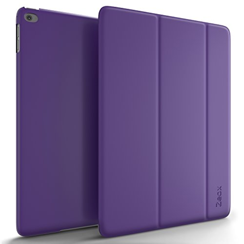 iPad Air 2 Case, Zeox iPad Air 2 Ultra Slim Fit Folio Smart Case Cover Stand Non Slip Protective Cover with Auto Wake/Sleep Feature for Apple iPad Air 2 Retina Display 2014 Release - Purple (Ipad Air 2 Comparison Ipad Air 1)