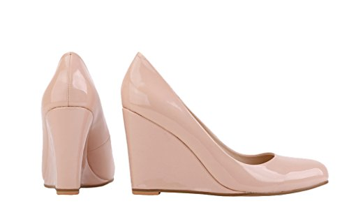 Women's Classic Round Toe High Heel Candy Color Wedge Pumps Shoes nude patent pu YQQkU