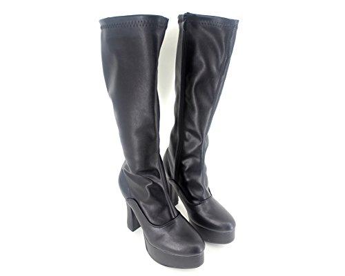 "Wonderheel 5"" chunky heel sexy plateforme bottes matte noir genoux boots femme"