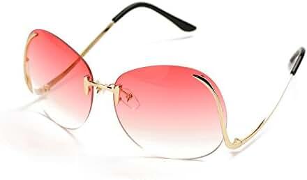 Pro Acme Fashion Vintage Oversized Clear Lens Women's Rimless Sunglasses