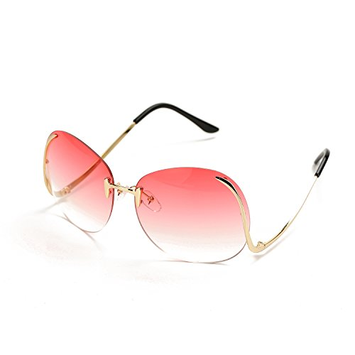Pro Acme Fashion Vintage Oversized Clear Lens Women's Rimless Sunglasses (Pink, As - Sunglasses Latest