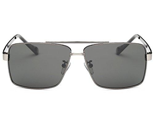 Vintage Soleil de métallique Homme Gris Conduire UV400 Outdoor Lunettes Lunettes Polarisées Sports Bmeigo Classique EZXxxpwq