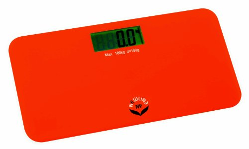 NewlineNY SBB-0720N-NYRO Step-On Mini Travel Bathroom Scale, Red Orange