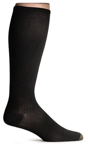Gold Toe Men's Large Firm Compression Over The Calf Sock, Black, Shoe Size: 7.5-10