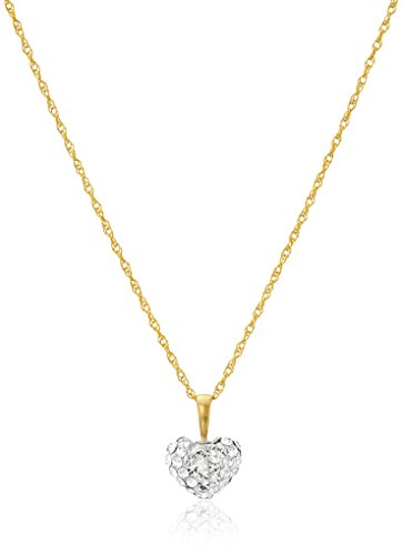 Jewelili 10k Yellow Gold Swarovski Elements White Crystal 10mm with Puffed 14k Gold Filled Chain Heart Pendant, 18