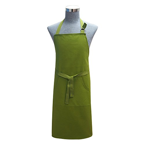 Cotton Twill Solid Adjustable Kitchen Chef Aprons with Pocket and Extra Long Ties,Commercial Aprons for Men and Women Bib Cooking, Baking, Crafting,Gardening, BBQ,Machine Washable ,27x34inches (Green)