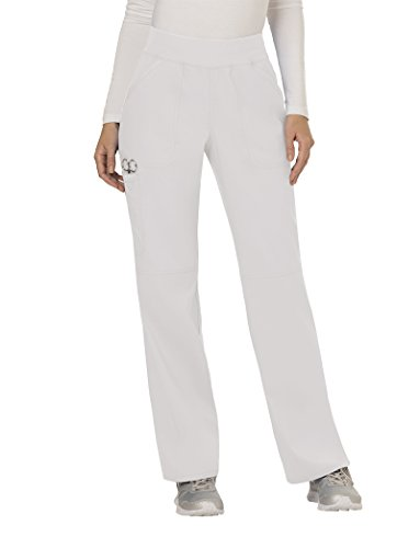 Cherokee Women's Mid Rise Straight Leg Pull-on Pant, Medium Petite, White
