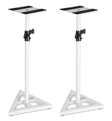 Pair Technical Pro White Studio Monitor Speaker Stands w/Adjustable (Best Technical Pro Speaker Stands)