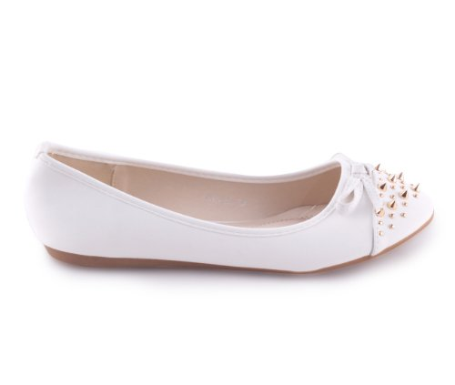 Damen Ballerinas Slipper Halbschuhe mit Nieten Weiß