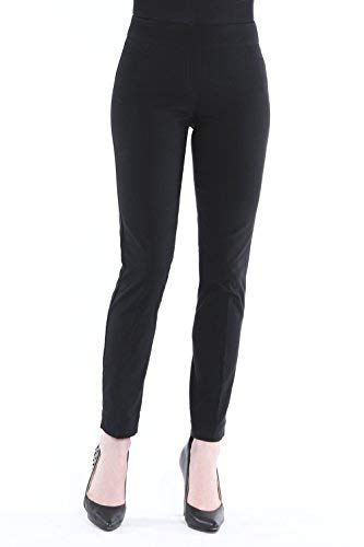 Vincenté Women's Super Slimming Perfect Comfort Fit Pull On Ankle Leg Pant with Contoured Waistband and Tummy Control, Color Black Size 10