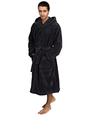 TowelSelections Men's Hooded Plush Bathrobe Spa Robe Made in Turkey