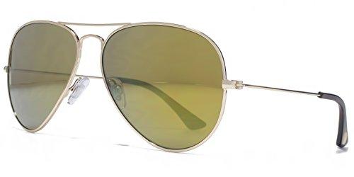 American Freshman Lunettes de soleil aviateur métallique classique en or léger AFS023 Gold Mirror