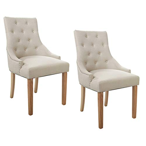 Cypress Shop Tufted Linen Fabric Upholstered Dining Chairs High Back Nailhead Button Style Backrest Roll Top Accent Classic Style Side Chairs with Solid Wood Legs Living Room Home Furniture Set of 2 (Tub Crushed Chair Velvet)