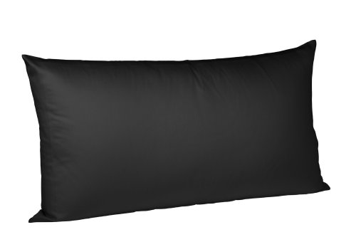 fleuresse Kissenbezug colours 9100-941, 40x80cm, Mako Satin, Farbe Schwarz, 100% Baumwolle, mit Reißverschluss