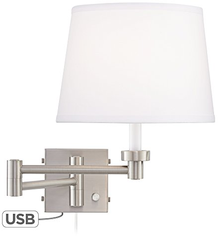 Vero Brushed Nickel Plug-In Swing Arm Wall Lamp with USB
