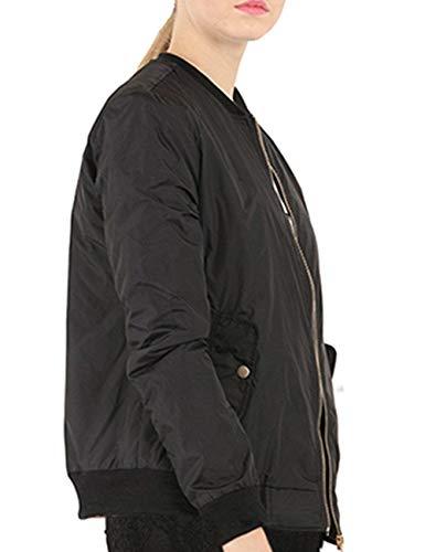 Giacche Vintage Fashion Casual Schwarz Giacca Cerniera Coat Eleganti Con Donna Coreana Monocromo Plus Maniche Collo Bomber Pilot Autunno Primaverile Prodotto Lunghe rwgp8x7rq