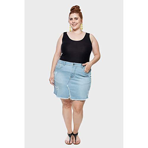 Saia Jeans Bico Delavê Plus Size Azul-48