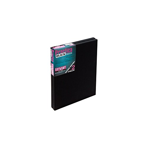 "Practica Black Stretched Canvas 2 Pack 11x14"" - Black"