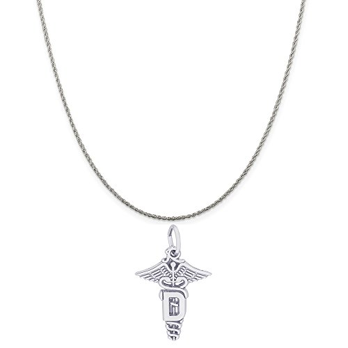 Rembrandt Charms Sterling Silver Dental Caduceus Charm on a Sterling Silver Rope Chain Necklace, 18