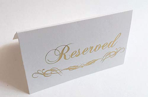 K11 Photo Design Reserved Signs for Wedding Gold Foil, 20 Pack Table Tent, Place Cards Hot Stamping Press Double Sides (Place Card Reserved Gold) ()