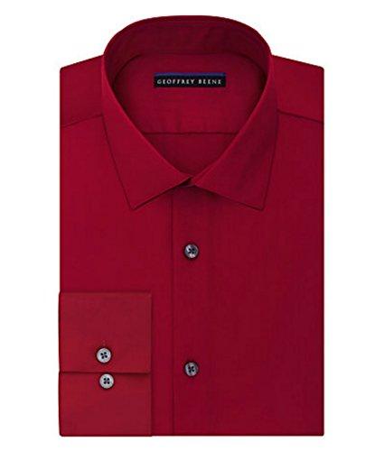 Geoffrey Beene Mens Fitted Sateen Dress Shirt  Red  16 5 32 33