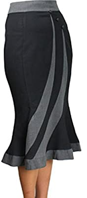 (XS-LG) Smooth Boss - Black 40s 50s Pencil Pinup Retro Rockabilly Skirt