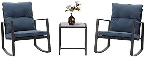 HOMPUS 3-Piece Rocking Chairs Bistro Set Outdoor Wicker Patio Furniture Sets w Blue Cushion