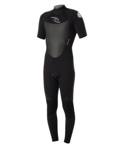 Rip Curl Dawn Patrol Back Zip 2/2 Short Sleeve Full Wetsuit, Black, - Wetsuit Fastest