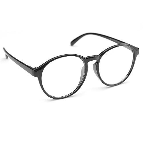 831e06069b3 Amazon.com  PenSee Oversized Circle Eyeglasses Frame Inspired Horned Rim  Clear Lens Glasses (Black)  Clothing