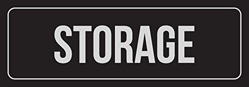 iCandy Combat Black Background with Silver Font Storage Office Business Retail Outdoor & Indoor Plastic Wall Sign - Single, 3x9 Inch