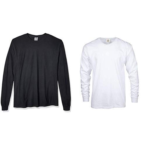 Comfort Colors Men's Adult Long Sleeve Tee, Style 6014,  Large,black/White