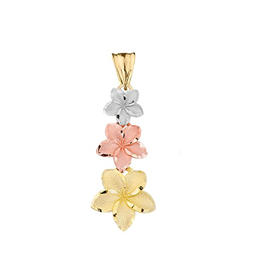 Elegant 14k Tri-Color Gold Hawaiian Plumeria Flowers Charm Pendant