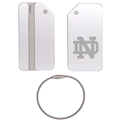 - UND UNIVERSITY OF NOTRE DAME STAINLESS STEEL - ENGRAVED LUGGAGE TAG (METALLIC SILVER) - FOR ANY TYPE OF LUGGAGE, SUITCASES, GYM BAGS, BRIEFCASES, GOLF BAGS