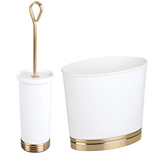 mDesign Modern Plastic Bathroom Storage and Cleaning Accessory Set - Includes Toilet Bowl Brush and Wastebasket Trash Can/Garbage Bin - 2 Pieces - White/Soft Brass
