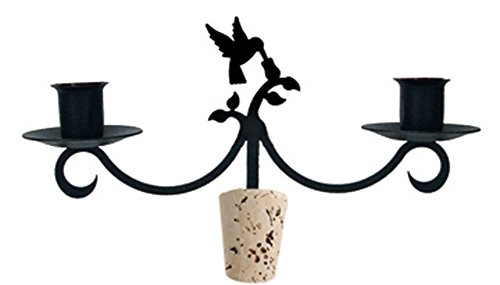 Iron Hummingbird Taper Candle Holder Wine Bottle Top Candelabra - Heavy Duty Romantic Candelabrum with wine stoppers (Hummingbird Wine Stopper compare prices)