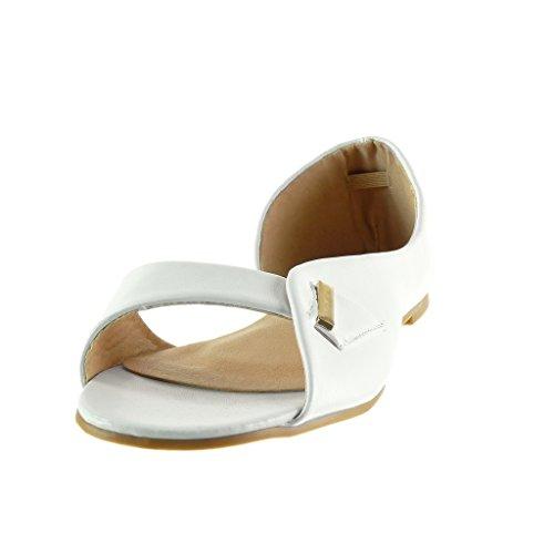 1 Sandale Ouverte Angkorly Blanc Femme Sexy Doré Talon Bloc Lanière Chaussure cm Mode Boucle qgSZwPUZ