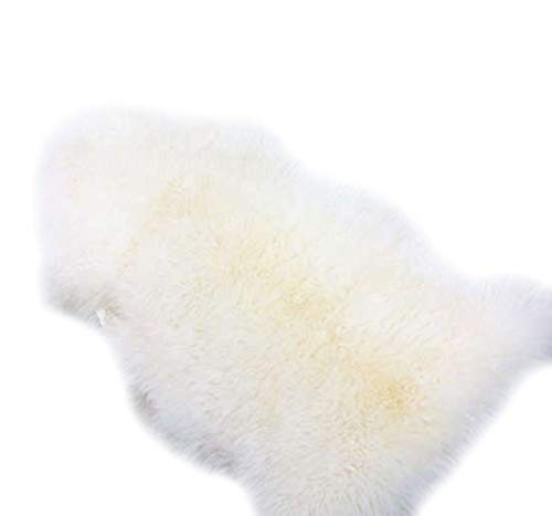 Woolous Genuine Zealand Sheepskin Rug One Pelt Ivory Natural Fur, Single,Approx.105cm X70cm(Ivory)