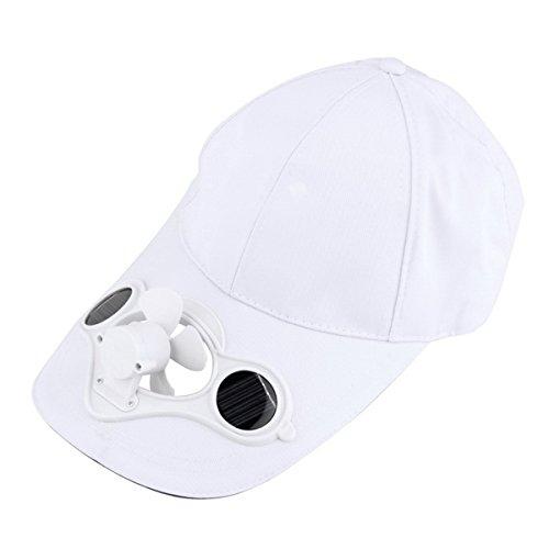 Summer Cool Solar Sun Power Fan Beach Boater Hats,White by ECYC