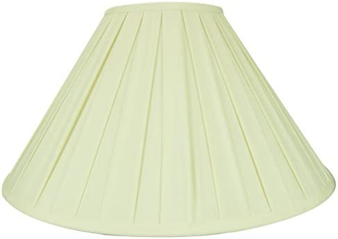 7x20x12 Eggshell Softback Box Pleat Coolie Lampshade with Brass Spider fitter – Perfect for table lamps and some desk lamps – Large, Egg Shell