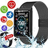 IP67 Waterproof Fitness Tracker Smartwatch with Free Replaceable Band Swimming Heart Rate Blood