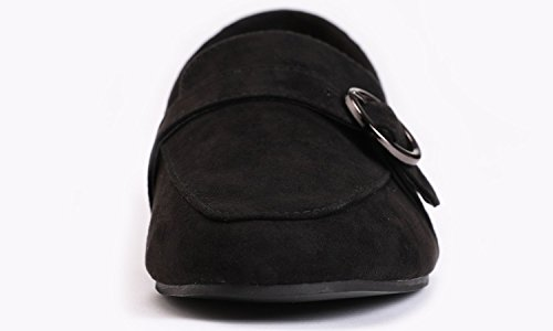 Trim Buckle Feversole Slippers Loafer Fashion Deco Microfiber Women's Black Round q6RwEOz